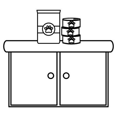 pet shop wooden drawer with food products vector illustration design Illustration
