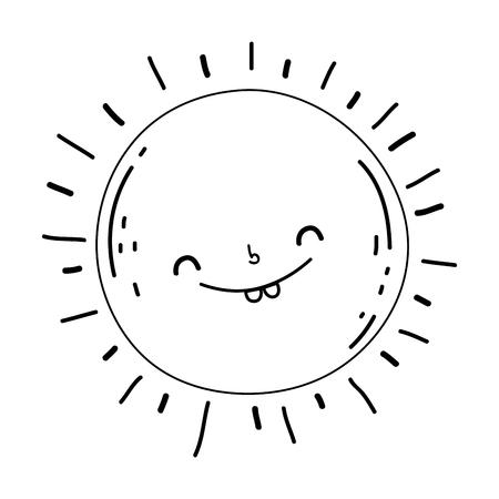 cute sun kawaii character vector illustration design