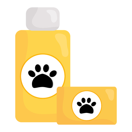 pet shampoo bottle and soap vector illustration design