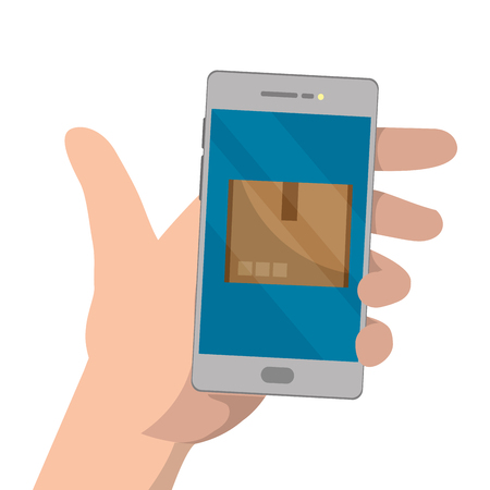 hands using cellphone with box vector illustration graphic design