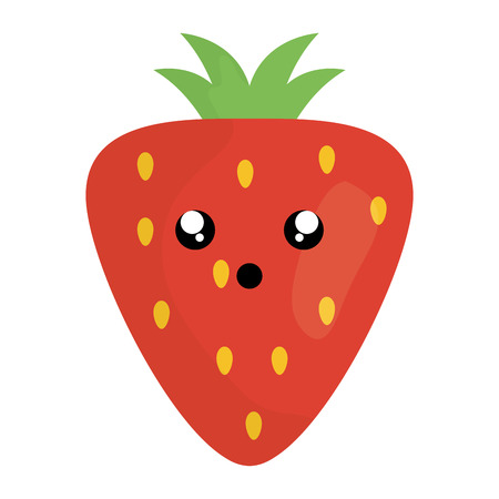 delicious strawberry fruit kawaii character vector illustration design