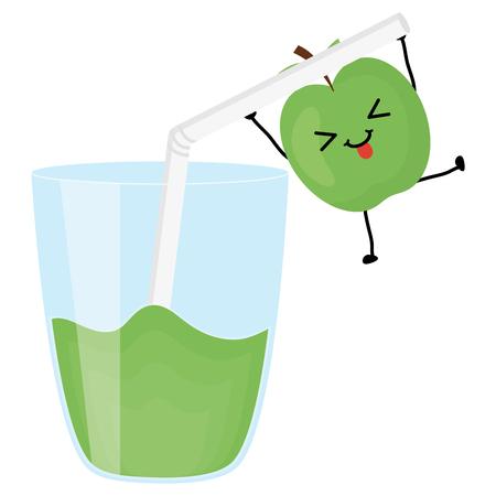 glass with juice fruit vector illustration design