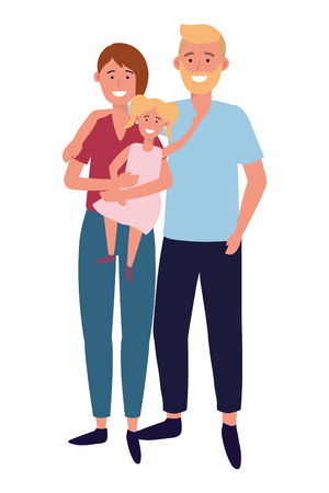 couple with child avatar cartoon character vector illustration graphic design Stock Vector - 122693909