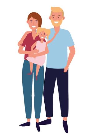couple with child avatar cartoon character vector illustration graphic design Illustration