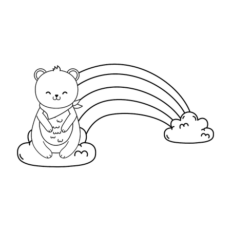 cute bear panda in the clouds with rainbow vector illustration design Illustration