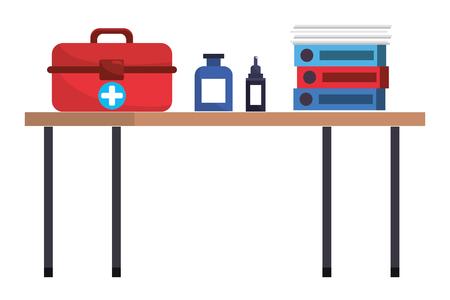 healthcare medical elements over desk cartoon vector illustration graphic design 向量圖像