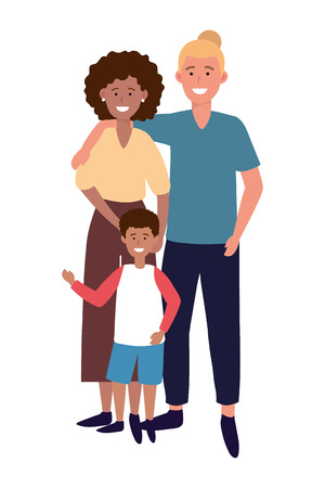 couple with child avatar cartoon character vector illustration graphic design