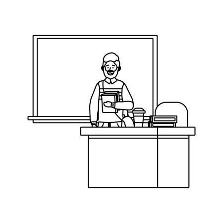 teacher having a class avatar cartoon character black and white vector illustration graphic design 向量圖像