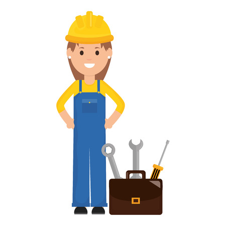 female builder worker with helmet and toolbox vector illustration design
