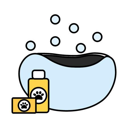 pet shampoo bottle and soap in bathtub vector illustration design Çizim