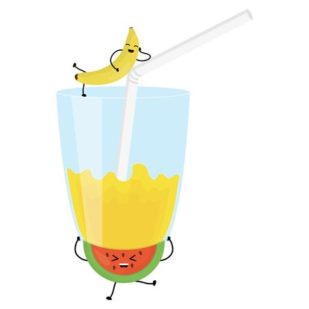 glass with juice banana fresh fruit kawaii character vector illustration design