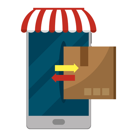 delivery cellphone with boxes transfer symbol and parasol vector illustration graphic design