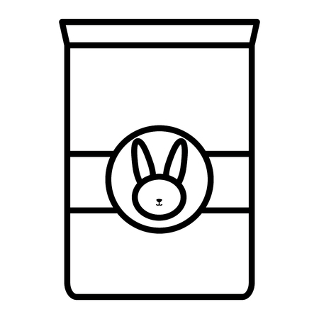 rabbit pet food bag icon vector illustration design