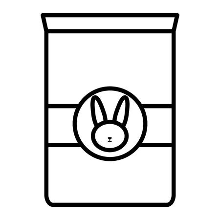 rabbit pet food bag icon vector illustration design