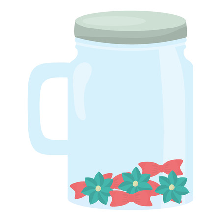 mason jar glass with lid and flowers vector illustration design