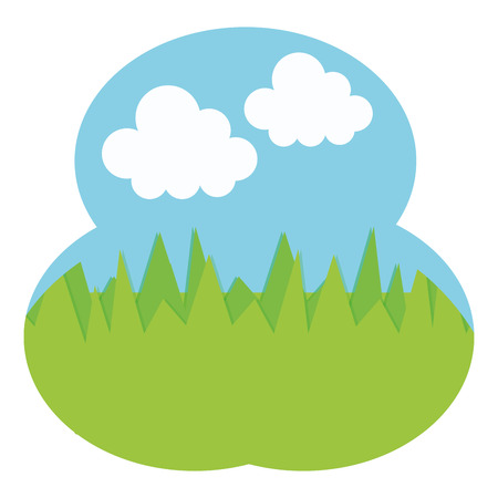 field camp grass scene vector illustration design