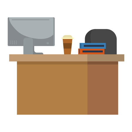 technology device computer pc screen over desk with coffee and books cartoon vector illustration graphic design