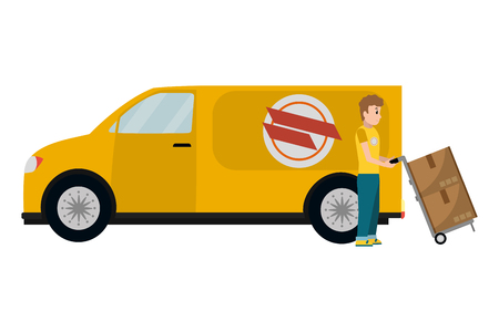 Repartidor con cajas de carro de mano y furgoneta ilustración vectorial diseño gráfico