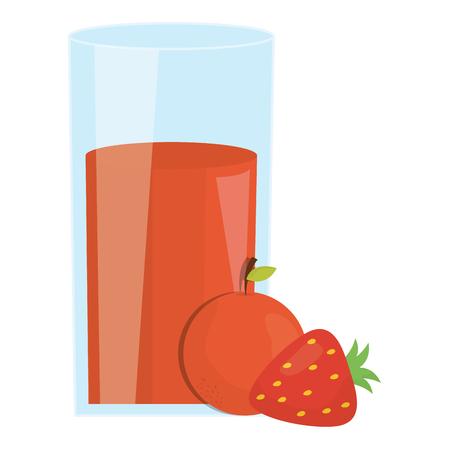fresh orange and strawberry juice fruits in glass vector illustration design Иллюстрация