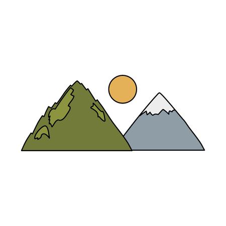 mountains landscape scene icon vector illustration design