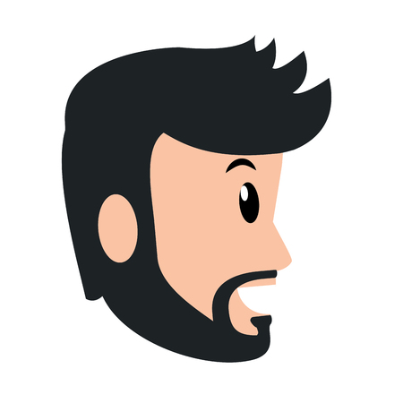 young man avatar only face with beard vector illustration graphic design Illustration