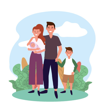 cute man and woman with baby and son vector illustration Иллюстрация