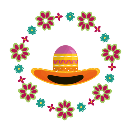 mexican hat traditional with floral decoration vector illustration design