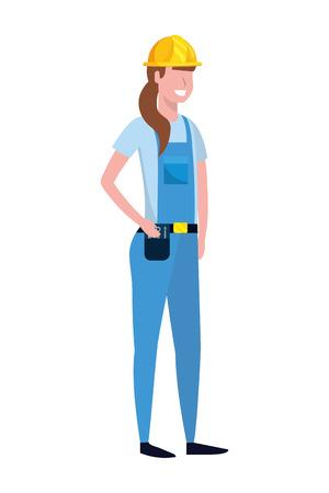 labor day job career construction architectural worker woman cartoon vector illustration graphic design Ilustração