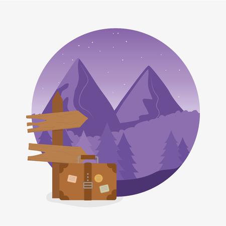wanderlust label with landscape and travelbag scene vector illustration design