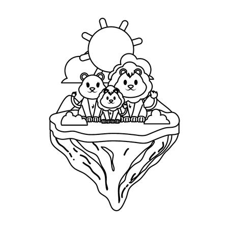 line family lion animal in float island vector illustration