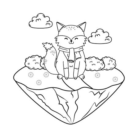cute fox in the field woodland character vector illustration design Foto de archivo - 122629062