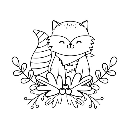 cute raccoon woodland character vector illustration design Foto de archivo - 122629078