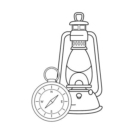 compass guide with kerosene lamp vector illustration design