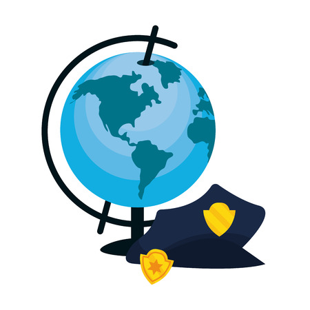 labor day police man with world map cartoon vector illustration graphic design