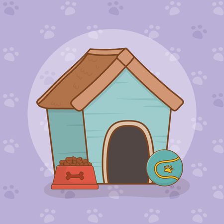 mascot wooden house with dish food vector illustration design Banque d'images - 122629104