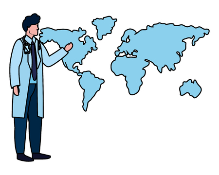 healthcare medical doctor man with world map cartoon vector illustration graphic design