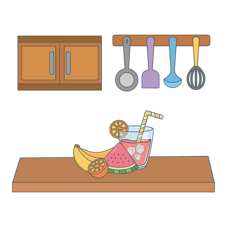 delicious healthy meal juice with fruits mix over wooden table kitchen scene cartoon vector illustration graphic design Illustration