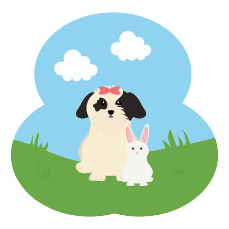 cute little rabbit with dog in the field vector illustration design
