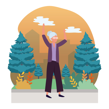 human old woman body raised hands cartoon vector illustration graphic design