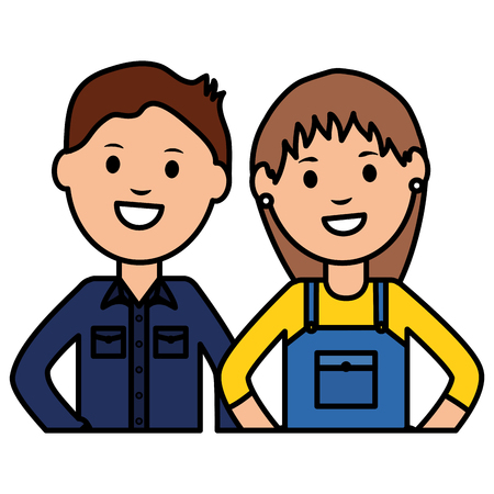 female builder worker with young man vector illustration design Vectores