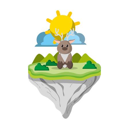 male deer animal in float island vector illustration Vettoriali