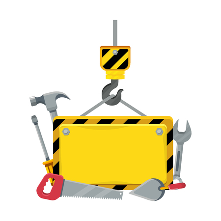 construction architectural tools under hook cartoon vector illustration graphic design  イラスト・ベクター素材