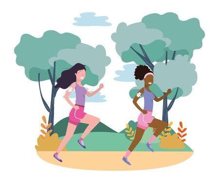 Mujeres corriendo con ropa deportiva avatar personaje de dibujos animados paisaje rural ilustración vectorial diseño gráfico