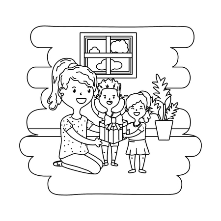 woman with children icon cartoon at home house black and white vector illustration graphic design