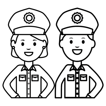 couple police officers avatars characters vector illustration design Çizim