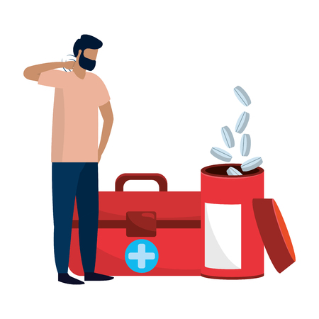 healthcare medical man patient with hospital elements cartoon vector illustration graphic design Ilustração