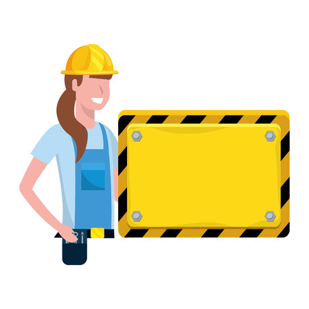 labor day job career construction architectural worker woman with board sign cartoon vector illustration graphic design