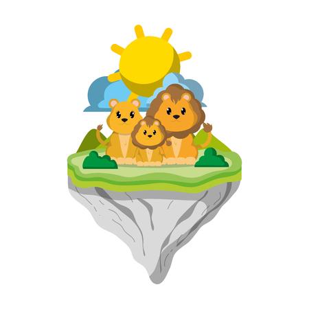 family lion animal in float island vector illustration
