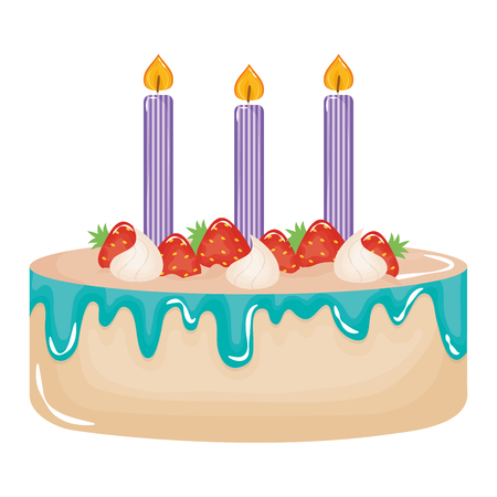delicious sweet cake with strawberries and candles vector illustration design Фото со стока - 122632181