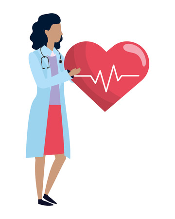 healthcare medical doctor woman with heart icon cartoon vector illustration graphic design Illustration